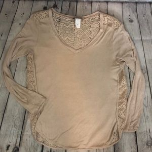 Lace back taupe long sleeve top